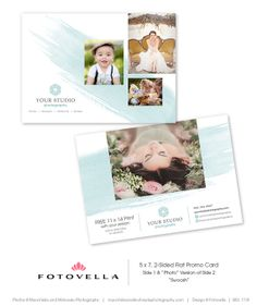 """Swoosh"" 5x7 Marketing Promo Card Template by FOTOVELLA - Easy to customize all colors and text, free fonts, drag-&-drop your images // Feature photos © Munchkins & Mohawks Photography"