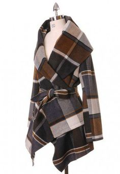 You could do a plain-hued coat every day this season, but like, WHY when you've got this Rabato coat with a stand-out print in coffee brown and grey? Step up your fall closet instantly with this coat and the right pair of chic boots.  - Check print in earth tone - Wide turn-down shawl collar - Fully lined.  - Removable belt at waist. - Fabric does not provide stretch. - Shell: 65% Polyester. 35% Wool - Lining: 100% Polyester. - Dry clean only. Size(CM)  Bust    Length    Shoulder   Sleeve…