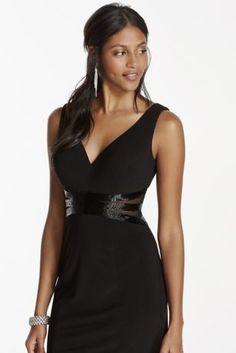 Deep V-Plunge Short Little Black Dress at @DavidsBridal