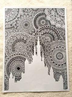 drawing for my favorite lock! All in zentangle mandala ! Size: 65 cm x 50 cm - Art Doodle Art Drawing, Zentangle Drawings, Mandala Drawing, Cool Art Drawings, Pencil Art Drawings, Zentangle Patterns, Art Drawings Sketches, Doodle Patterns, Zentangles