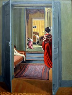 Felix Vallotton - Interieur avec femme en rouge de dos, 1903 at Kunsthaus Zürich - Zurich Switzerland | Flickr - Photo Sharing!
