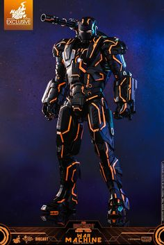 Heavily inspired by modern contemporary neon art, today we are proud to officially announce the arrival of scale Neon Tech War Machine diecast collectible figure with luminous reflective element to expand on the one-of-a-kind Marvel collection! Iron Man Kunst, Iron Man Art, Iron Man Wallpaper, Iron Man Avengers, Iron Man Photos, Hot Toys Iron Man, Man 2, Armas Ninja, Ironman