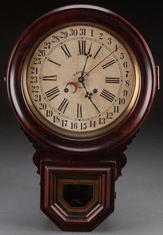 Ingraham Few Drop model, wall regulaator. Eight  day, time only movement with calendar. Manufactured by Ingraham Clock Company, Bristol, Connecticut, circa 1890. Clock Shop, Diy Clock, Clock Wall, Antique Watches, Antique Clocks, Sistema Solar, Farmhouse Clocks, Retro Clock, Watches