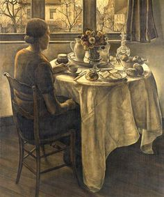 The Supper   1921 .. by Jos Albert.... #interior painting..   <3 the muted…