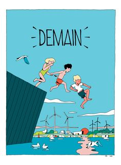 "Pages from the book ""Demain"" inspired by the documentary of Melanie Laurent and Cyril Dion. A story of a family travelling the planet to meet people that are actually changing the world.Published by Actes Sud Junior in November 2015."