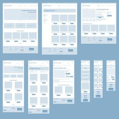 Responsive Wireframes - high-level example of how a page reflows according to screen size. Example is a typical ecommerce site.. If you like UX, design, or design thinking, check out theuxblog.com