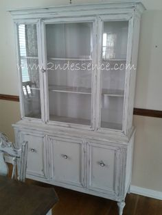 Shabby Chic Antique China Cabinet. Cotton Grey.