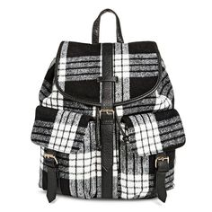 Under One Sky Women's Backpack Handbag with Plaid Design - Black