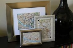 Frame the maps of places you have travelled