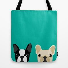 Boston Terrier & French Bulldog 2 Tote Bag by Anne Was Here - $22.00