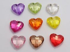 Best Quality 50 Mixed Colour Transparent Acrylic Faceted Heart Charm Beads 23x16mm At Cheap Price, Online Acrylic, Plastic, Lucite | Dhgate.Com
