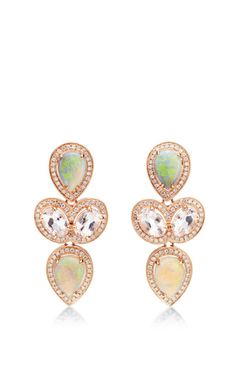 One Of A Kind Courtney Lauren Opal, Morganite, And Diamond Earrings by Dana Rebecca for Preorder on Moda Operandi