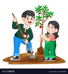 A young father and his daughter planting a tree Vector Image Cartoon Rooster, Young Fathers, Islam For Kids, Book Background, Birthday Frames, Colouring Pics, Art Drawings For Kids, Winter Crafts For Kids, Science Activities