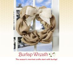 #Burlap wreath :) Love this for some seasonal decor -- wrap in lights & add some ribbon, too!
