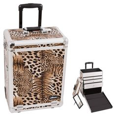 57aa72416c Brown Interchangeable Leopard Textured Printing Professional Rolling  Aluminum Cosmetic Makeup Case With Large Drawers - E6303