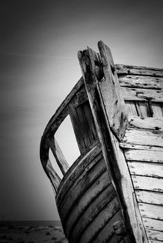 Black and white abstract of an old abandoned boat.