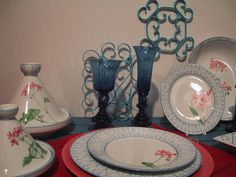 donnerware Limoges porcelain ,hand painted with laurel and genarium pink flowers
