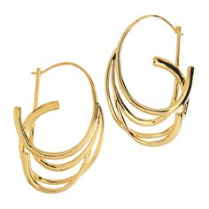 Our graceful polished gold Ribbon Hoop Earrings are one of a kind and hand forged in India by contemporary artisans using ancient techniques