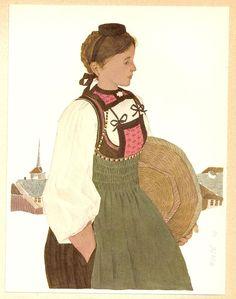 Kurt Wirth (Swiss, 1917-1996): Schweizer Trachten (Swiss traditional costumes)