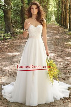 2016 A Line Wedding Dresses Sweetheart Chiffon With Applique And Beads