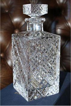 No box. Crystal Glassware, Waterford Crystal, Alcohol Bottles, Perfume Bottles, Carafe, Cut Glass, Glass Art, Bottle Design, Tiger Eyes