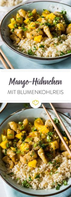 Mango Hähnchen mit Blumenkohlreis low carb Rezept Food Inspiration, Fitness Inspiration, Low Carb Curry, Low Carb Rice, Low Carb Keto, Low Carb Recipes, Snack Recipes, Healthy Recipes, Cooking Recipes