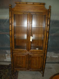 HEYWOOD WAKEFIELD 2 PIECE MAPLE HUTCH BOOKCASE CABINET