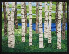 Art Quilt Birch Trees 9 by lake wall hanging wall quilt