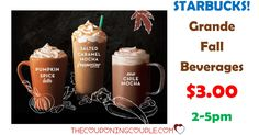 WOW! Just in time for the start of fall! Get a GRANDE FALL BEVERAGE for only $3.00 from Starbucks!  Click the link below to get all of the details ► http://www.thecouponingcouple.com/grande-fall-beverages-3-at-starbucks-limited-time/ #Coupons #Couponing #CouponCommunity  Visit us at http://www.thecouponingcouple.com for more great posts!
