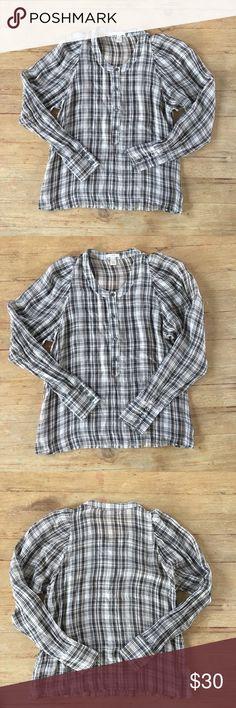 "J Crew 100% silk plaid tunic shirt Perfect condition and perfect for fall.  J Crew 100% silk tunic top.    Size 6.   Length is approx 23"". J. Crew Tops"