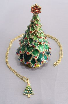 New Trinket Box Gift Crystals Green Christmas Tree Time Of  Merriment