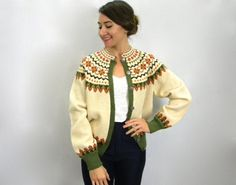 Creme Wool Norweigan Cardigan by GlennasVintageShop on Etsy Hand Knitted Sweaters, Knit Cardigan, Hand Knitting, Knits, High Fashion, Cardigans, Wool, Etsy, Vintage