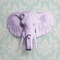 La sabana en lavanda - imitación elefante cabeza púrpura falso resina Animal plástico Fauxidermy taxidermia cerámica de la pared decoración montar réplica de arte