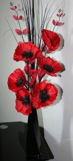 Artificial Silk Flower Arrangement  Red Poppies in Black Ceramic Vase 75cm High.