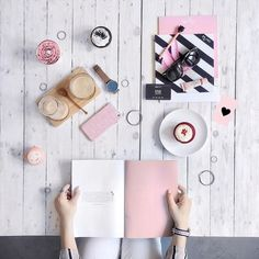 wood and pink flatlay