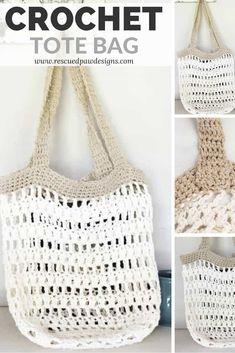 Crochet Market Tote Bag ⋆ Rescued Paw Designs Crochet