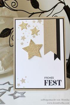 Weihnachtskarte Sterne Savanne gold schwarz weiß Stampin' Up! Frohes Fest Winterliche Weihnachtsgrüße Weihnachtsgruesse Perpetual Birthday Calendar