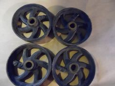 Vintage Lot of 4 Primitive Cast Iron Wheels Farm Grain Scale Steampunk Antique #Unknown