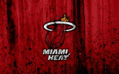 Download wallpapers 4k, Miami Heat, grunge, NBA, basketball club, Eastern Conference, USA, emblem, stone texture, basketball, Southeast Division