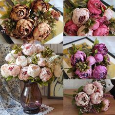 Artificial Silk Peony Flowers Home Wedding Party Bridal Bouquet Decor US STOCK #Unbrand
