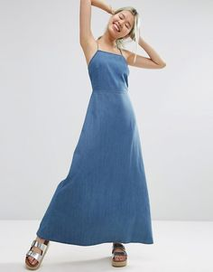 Image 1 ofASOS Maxi Dress With Tie Back in Washed Cotton