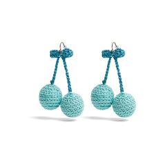Rosie Assoulin Cherries crochet earrings ($195) ❤ liked on Polyvore featuring jewelry, earrings, blue, dangle earrings, macrame earrings, crochet earrings, macrame jewelry and hook earrings
