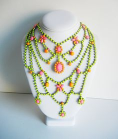 The Molly Necklace  OOAK  Vintage 1950s Large Neon by LoveObsessed,