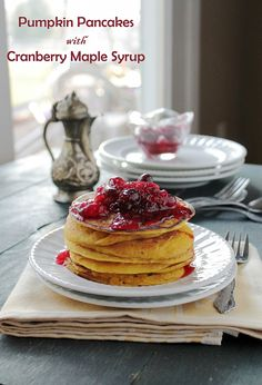 Pumpkin Pancakes with Cranberry Maple Syrup | www.diethood.com