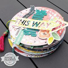 Mini album round use cd as pattern idea