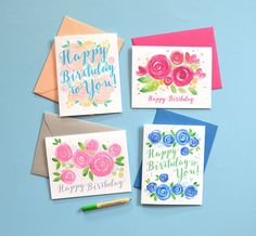 Floral Watercolor Birthday Card Set, Happy Birthday Cards, Assorted Flower Birthday Cards by MospensStudio on Etsy https://www.etsy.com/listing/240953891/floral-watercolor-birthday-card-set