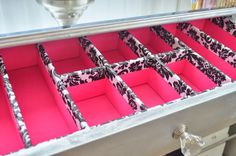 How to make drawer dividers out of foam board Organization - Cut to size, stick in drawers to divide contents