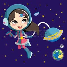 Pretty astronaut fashion girl exploring space from her flying ship orbiting the earth Stock Vector
