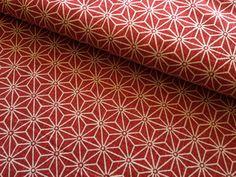 Japanese Fabric   Japanese sashiko design fabric on red