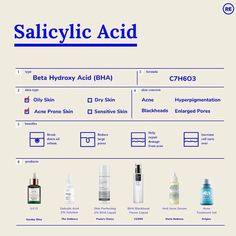 ✨All about Salicylic Acid ✨ Back Acne Treatment, Oily Skin Treatment, Types Of Acne, Acne Prone Skin, Acne Skin, Face Skin Care, Salicylic Acid, Facial Care, The Ordinary